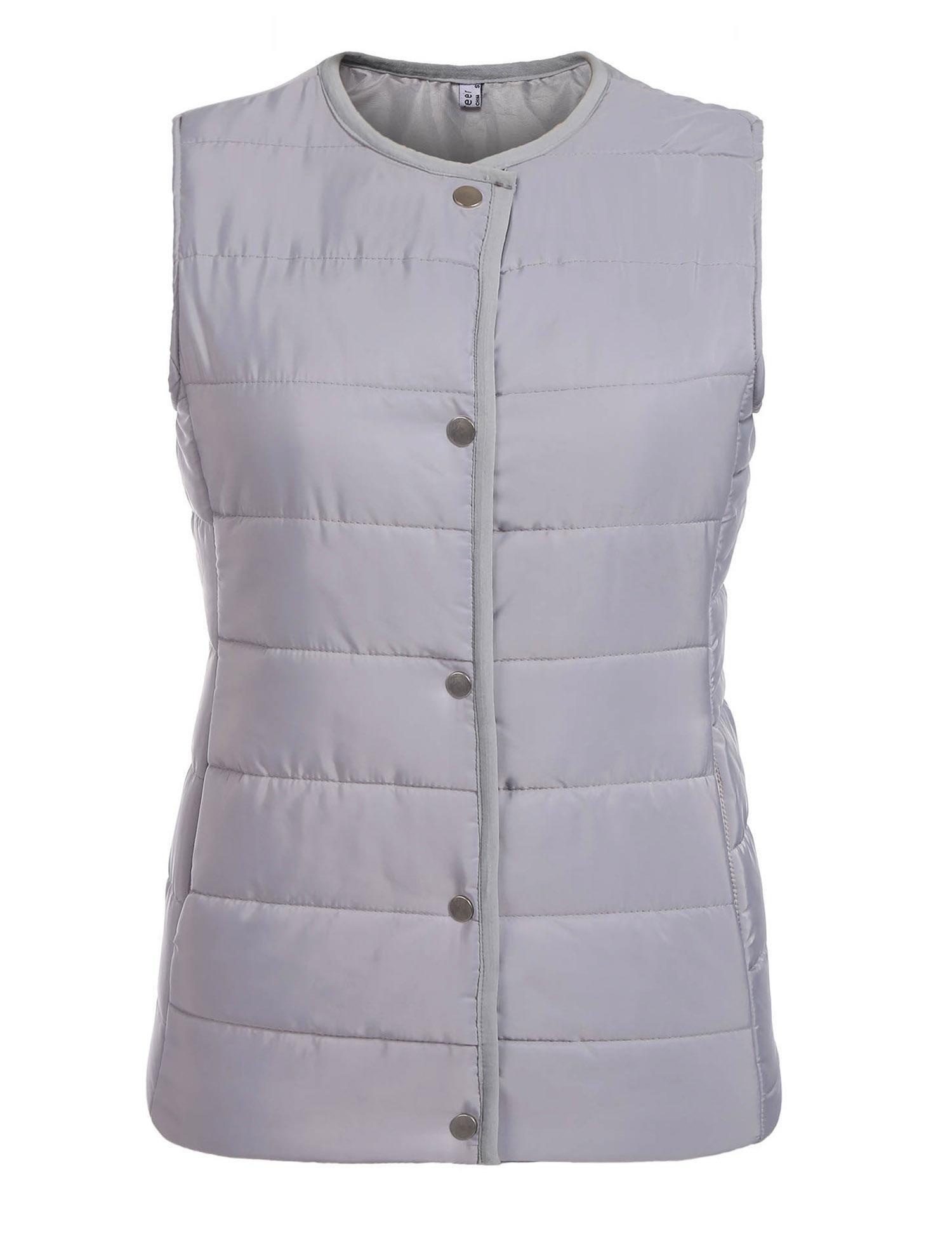 etuoji Women's Puffer Compact Vest O-Neck Solid Lightweight Winter Warm Button Down Quilted Vest Gilet