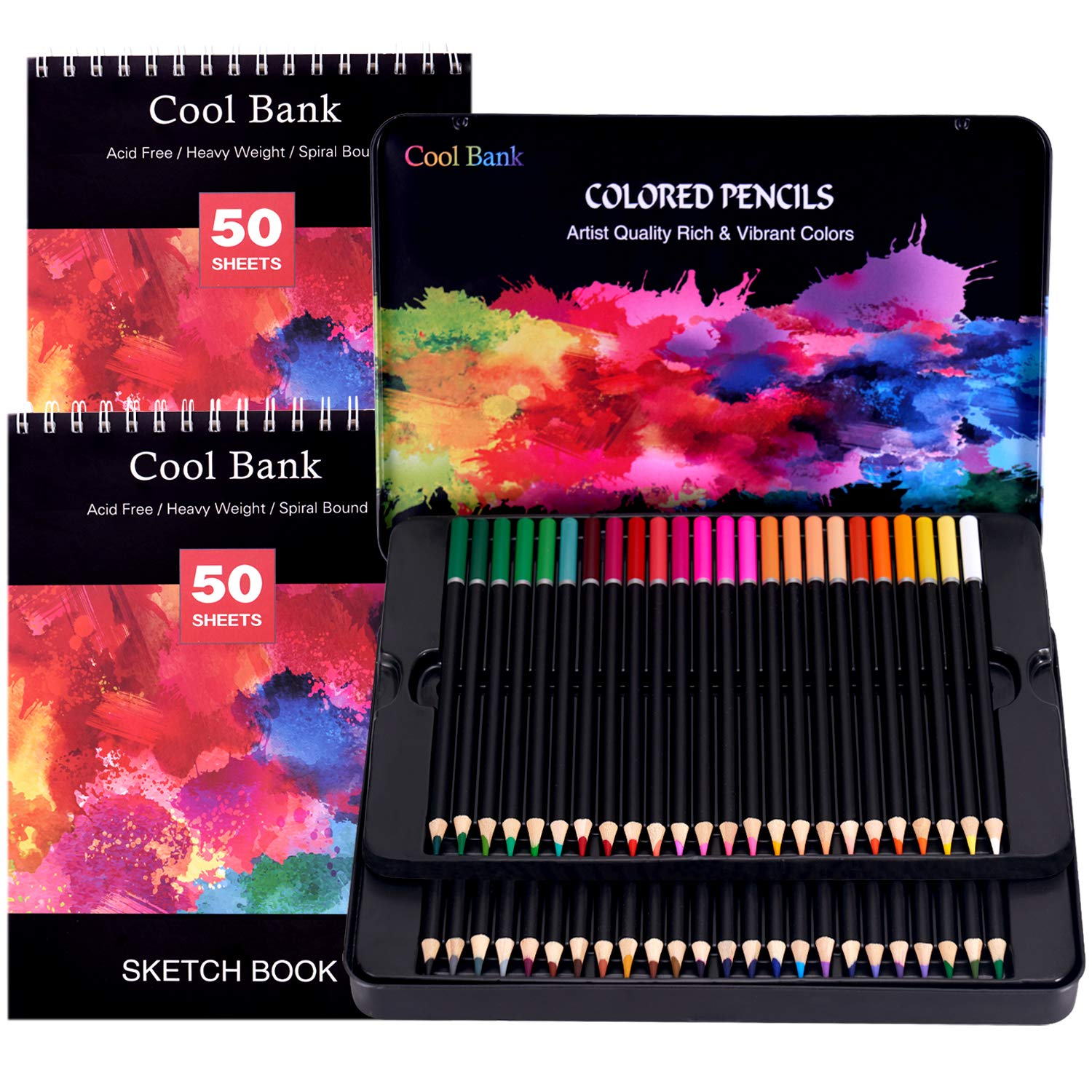 48 Colored Pencils,Art Supplies with 2 x 50 Page Drawing Pad(A4), Premium Artist Soft Series Lead with Vibrant Colors for Sketching& Coloring,Artist Pencils for Beginners & Professionals in Tin Box by COOL BANK