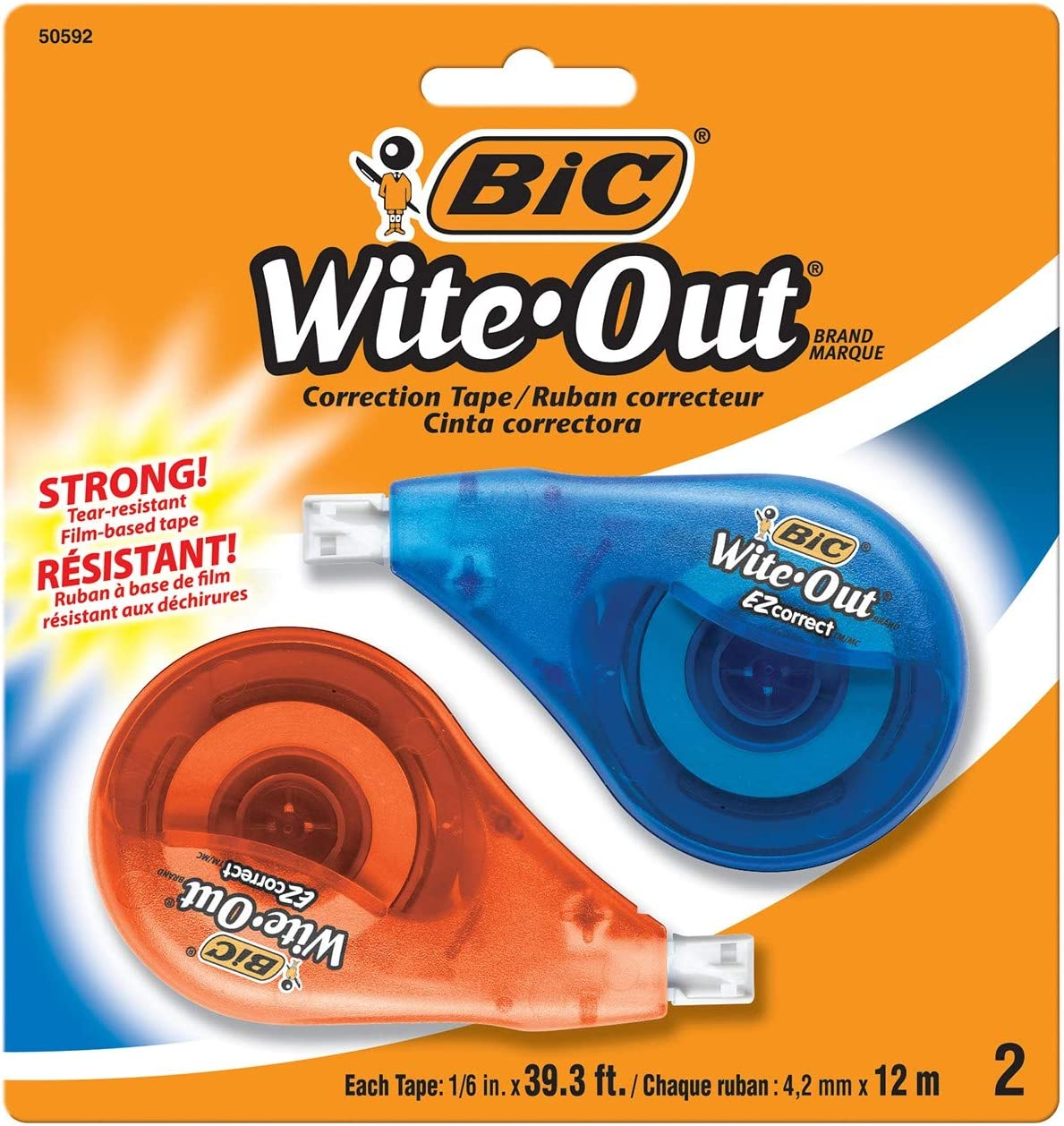 BIC Wite-Out EZ Correct Correction Tape, 2-Count : White Out : Office Products