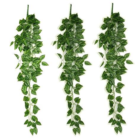 2×Künstlich Efeu Hängend Pflanze Blätter Girlande Party Wanddekoration 90cm Neu
