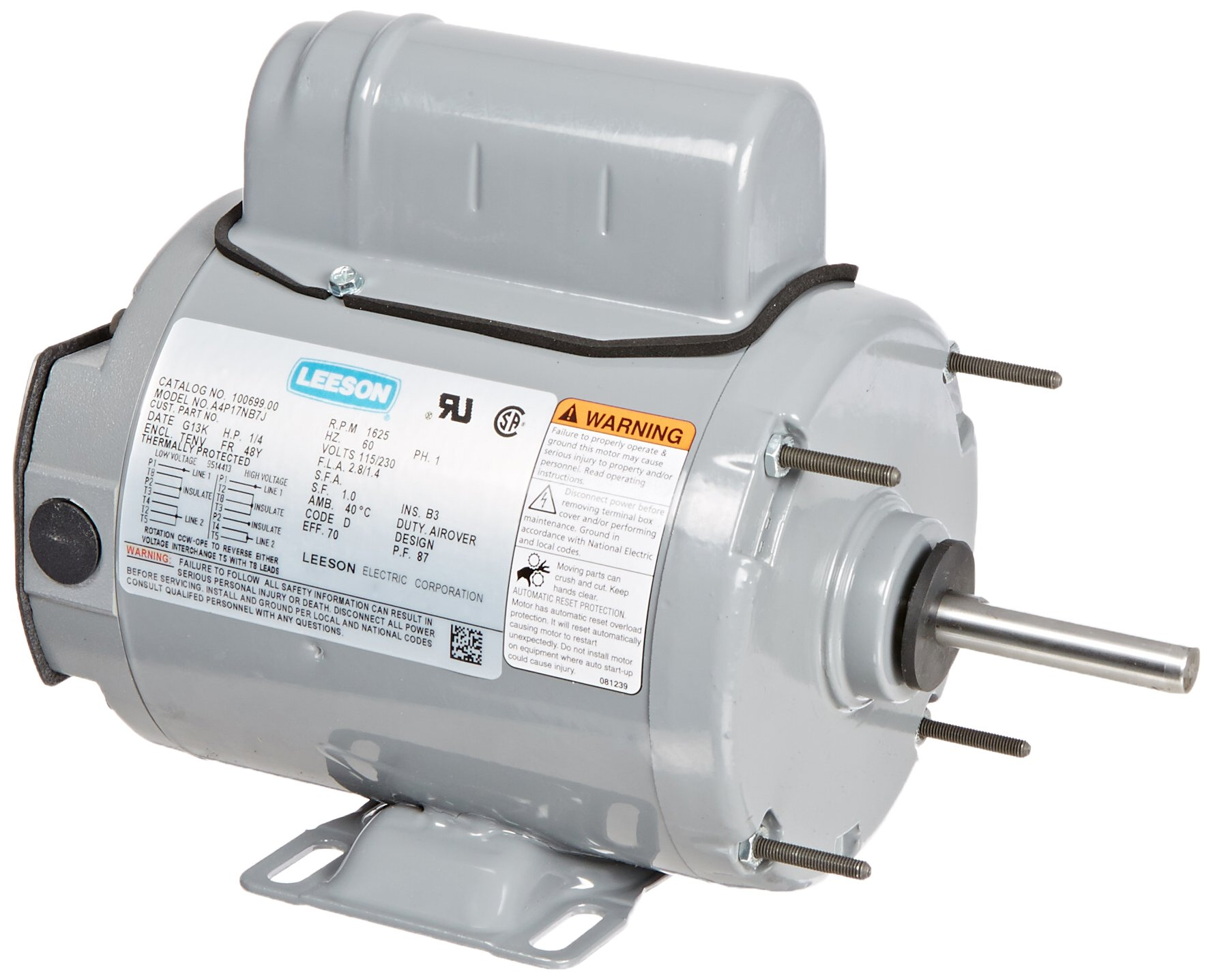 Leeson 100699.00 Agricultural Fan Duty Motor, 1 Phase, 48Y Frame, Rigid Mounting, 1/4HP, 1625 RPM, 115/230V Voltage, 60Hz Fequency