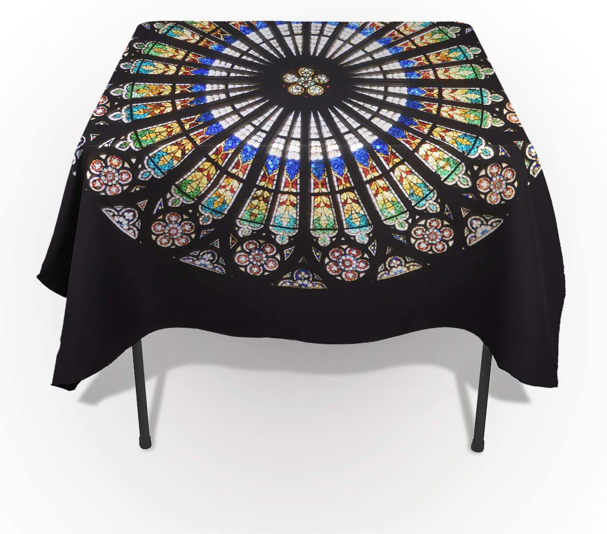 Rectangle Tablecloth Washable Polyester Fabric Table Cover Black Abstract Mandara Floral Pattern Wrinkle Free Printed Tablecloth Protector for Kitchen Dining Party 60×140inch