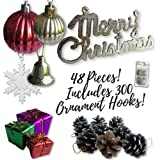Mini Ornaments for Small Christmas Trees - 32 White Glitter Snowflakes - Assorted Ball Ornaments, Pine Cones, Wrapped Presents and Bells - Gold Merry Christmas Sign