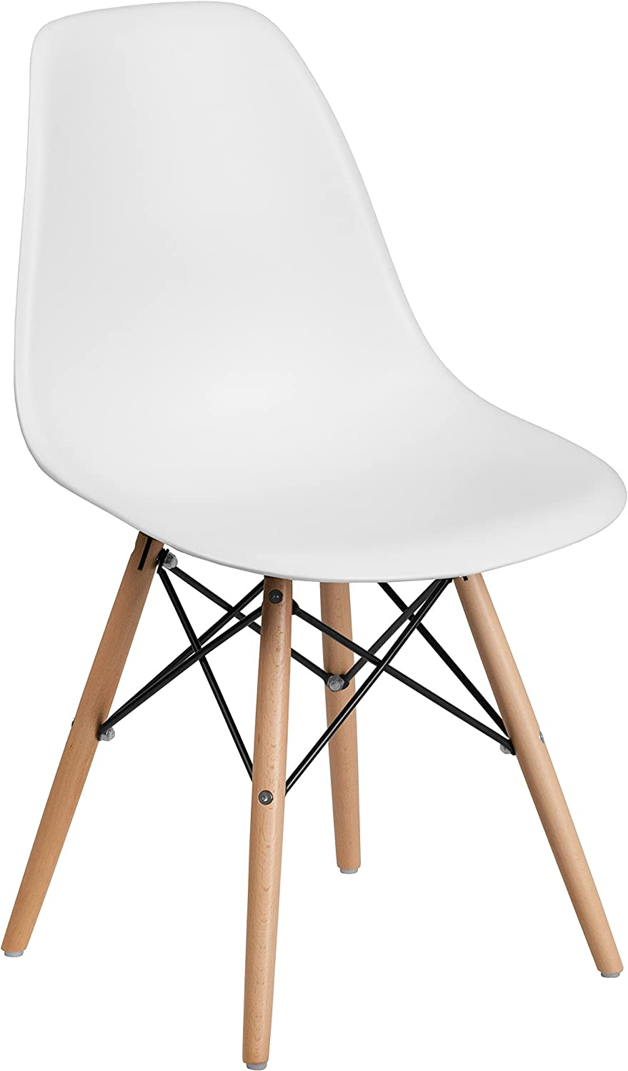 Shop Flash Furniture Elon Series White Plastic Chair with Wooden Legs from Amazon on Openhaus