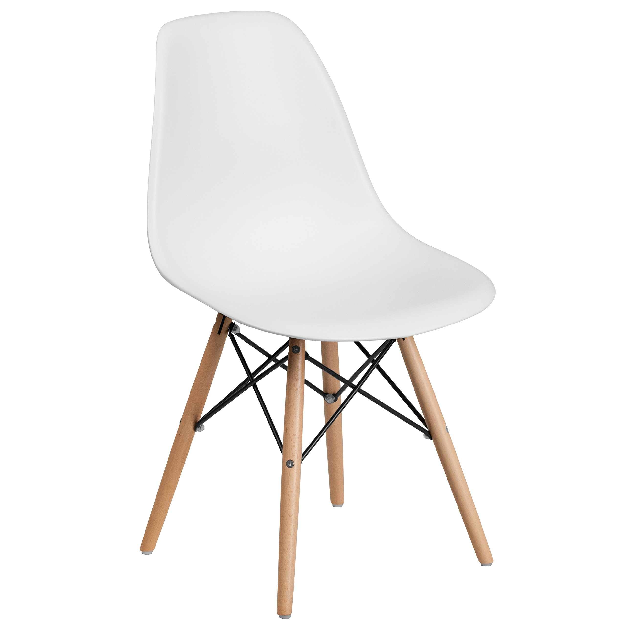 Flash Furniture Elon Series White Plastic Chair with Wooden Legs by Flash Furniture