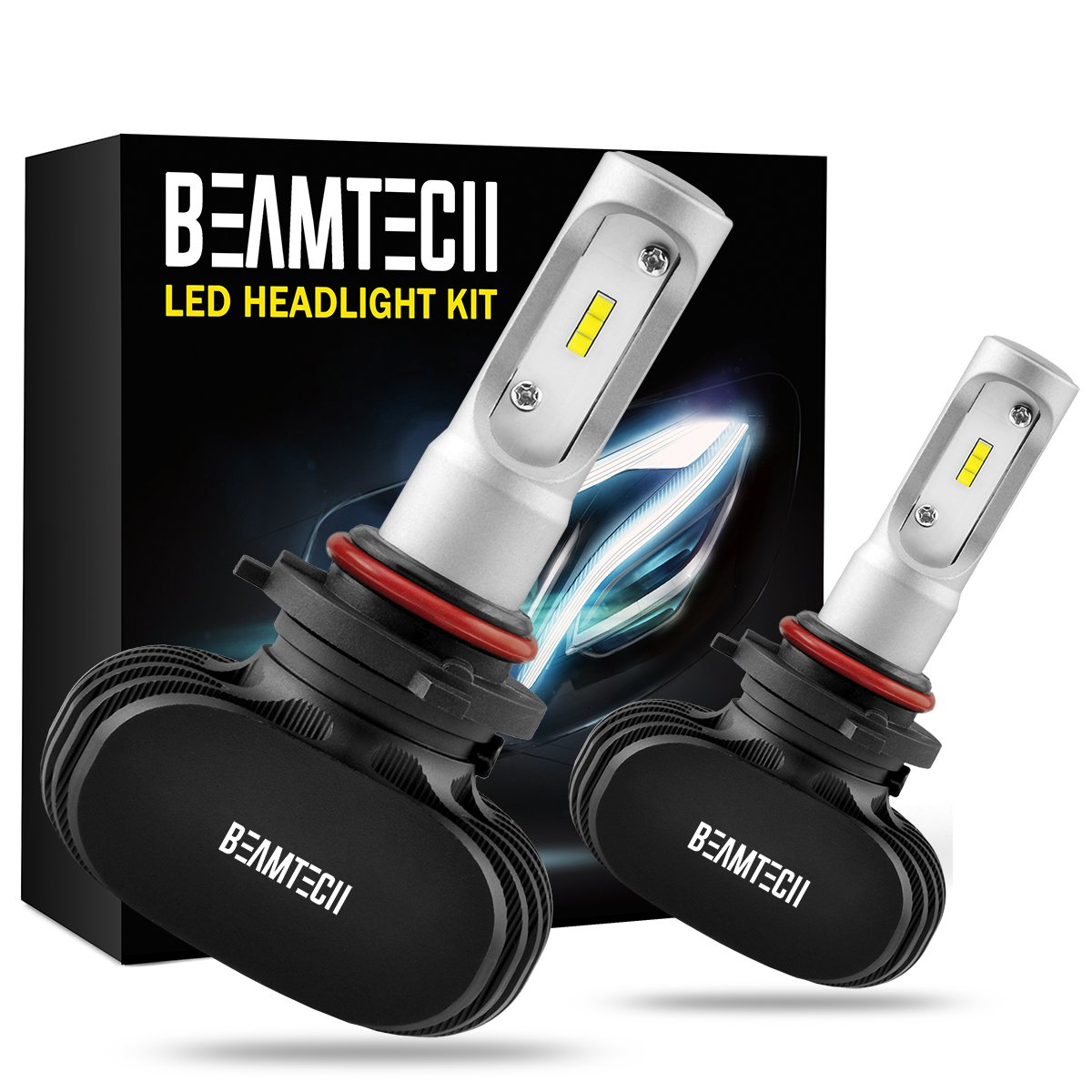 BEAMTECH 9005 LED Headlight Bulb, 50W 6500K 8000Lumens Extremely Brigh HB3 CSP Chips Conversion Kit by BEAMTECH