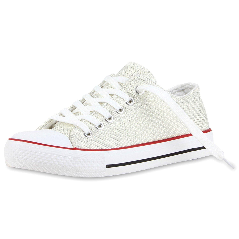 Japado Elegante Damen Sneakers Low Glitzer Canvas Schuhe Creme Turnschuhe Freizeit Gr. 36-41 Creme Schuhe Shiny 977002