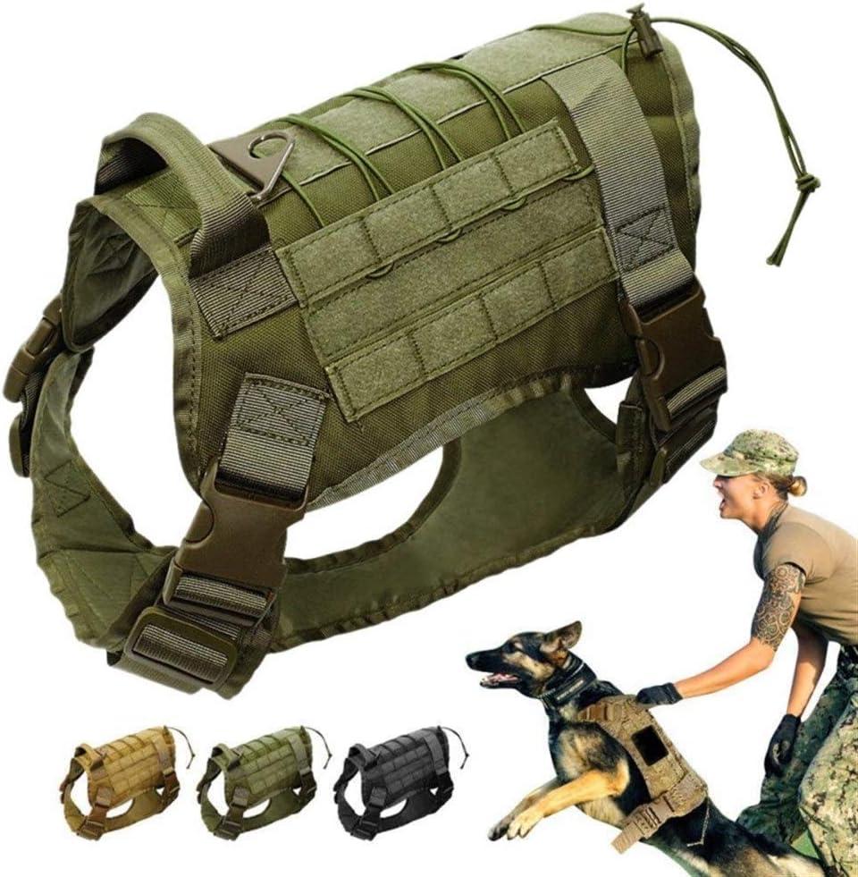 Aomednx Tactical Service Hond Vest Training Jacht Molle Nylon Waterbestendige Militaire Patrouille Verstelbare Hond Harnas Handvat Jacht Lichtgewicht Woestijnkleur