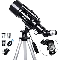 Telescope for Kids Adult, 70mm Aperture 500mm AZ Mount Stilnend Refractor Telescope with carring Bag and Tripod Phone…