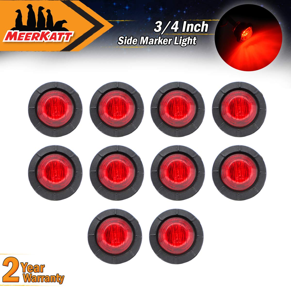 Meerkatt (Pack of 10) 3/4' Inch Mini Round 5 Amber + 5 Red LED Side Marker Flush Mount Spot Kit Clearance Lamp Indicator Light Universal Waterproof Trailer Boat Bus Caravan Truck Jeep Lorry RV 12V DC