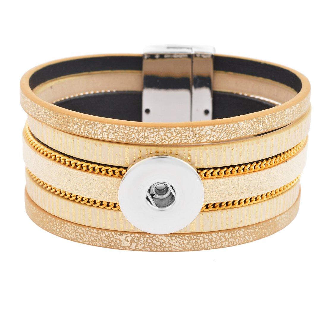 Godagoda 1PC Yellow snap Buttons Jewelry Multi-Layer Bracelet