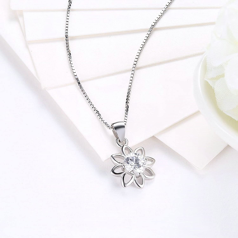 Beydodo 925 Silber Halskette Anhänger Damen Hohl Sonnenblume