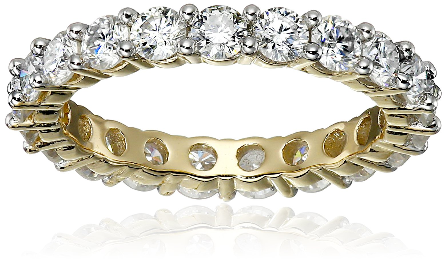 18K Yellow Gold over Sterling Silver VG Moissanite Prong Set Band Eternity Ring, Size 7