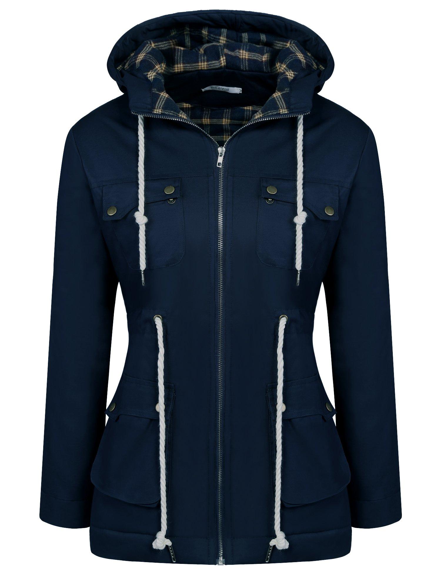 ELESOL Women's Military Hooded Warm Lined Parka Winter Anorak Jacket Coats Navy Blue XL