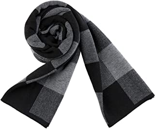 PENAGY Men Winter Warm Fashion Scarves Wool Soft Luxurious Scarf Wraps-Black&Gery