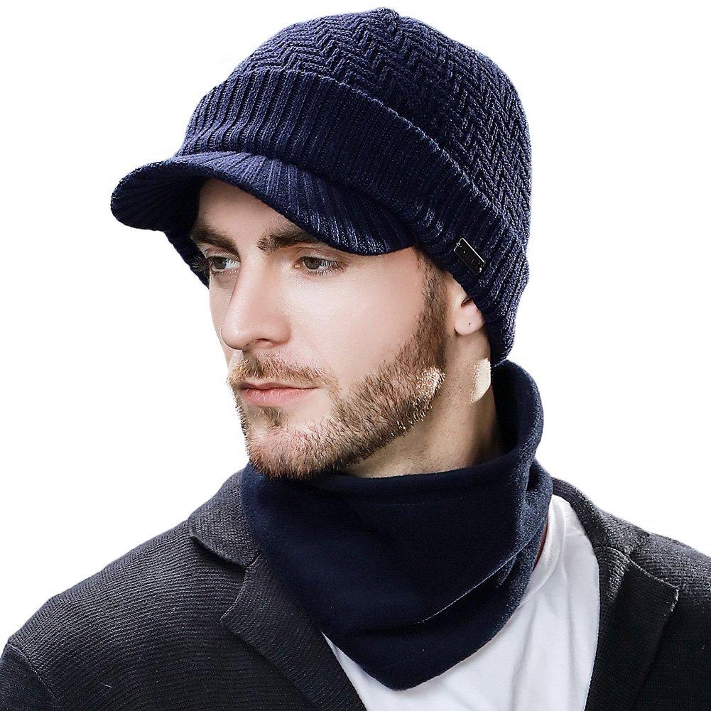45ef755c5b2 SIGGI Mens Wool Knit Visor Beanie Winter Hat Scarf Sets Fleece Mask Neck  Warmer product image