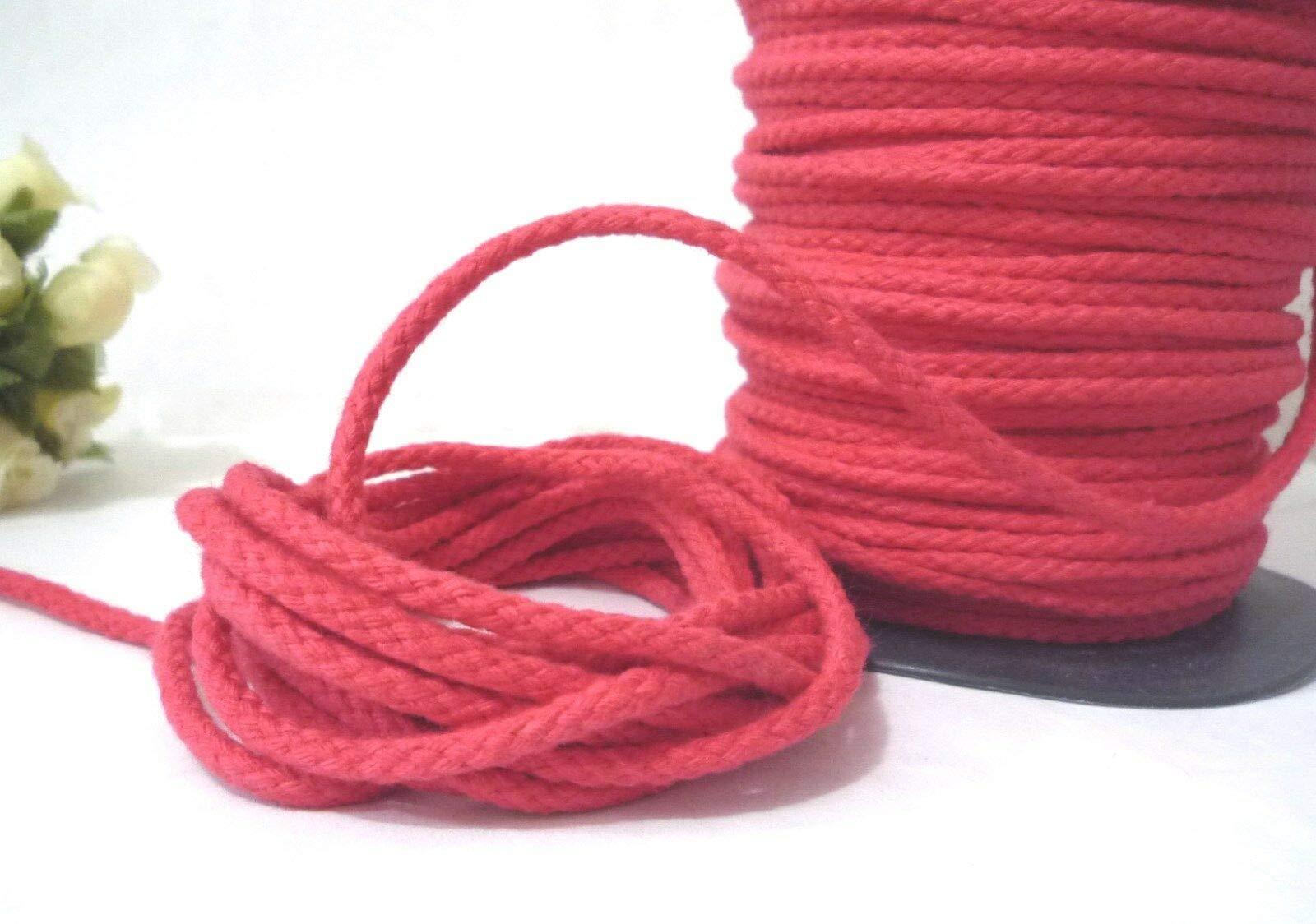 FidgetKute 10yd / 9 Meter Rose Red Braid Cotton Cord String Rope Drawstring 3.5mm CC61 by FidgetKute