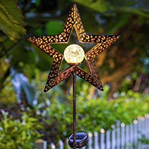 TAKE ME Star Solar Lights Garden Outdoor,Waterproof Metal Decorative Stakes for Walkway,Yard,Lawn,Patio