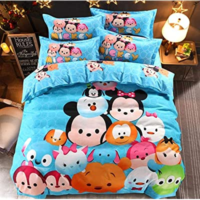 Disney Cartoon Tsum Children Bedding Set Duvet Cover/Flat Sheet/Pillow Cases Bed Linen for Children Home Decor 1.5m Bed 100% Polyester 300 Thread Count Flat Bed Sheet (Queen 4pcs): Home & Kitchen