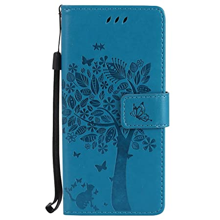 KKEIKO Galaxy S7 Case Blue Leather Wallet Case Notebook Style Flip Cover with Free Tempered Glass Screen Protector Shock-Absorption Protective Cover with Cat Pattern for Galaxy S7