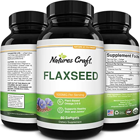 Omega Flaxseed Oil 1000mg Softgels - Flax Seed Oil Softgel for Brain Support Constipation Relief Cycle Support and Heart Health Supplement - Natural Omega 3 6 9 Supplement for Hair Skin and Nails