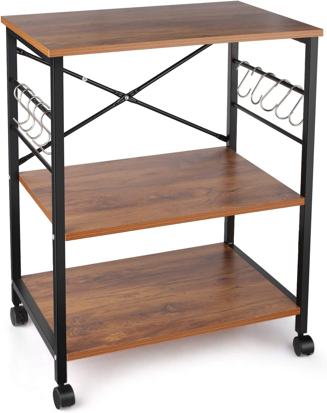 BATHWA Industrial Kitchen Baker's Rack, 3-Tier Microwave Oven Stand Storage Cart with with Metal Frame and 10 Hooks (with Casters)