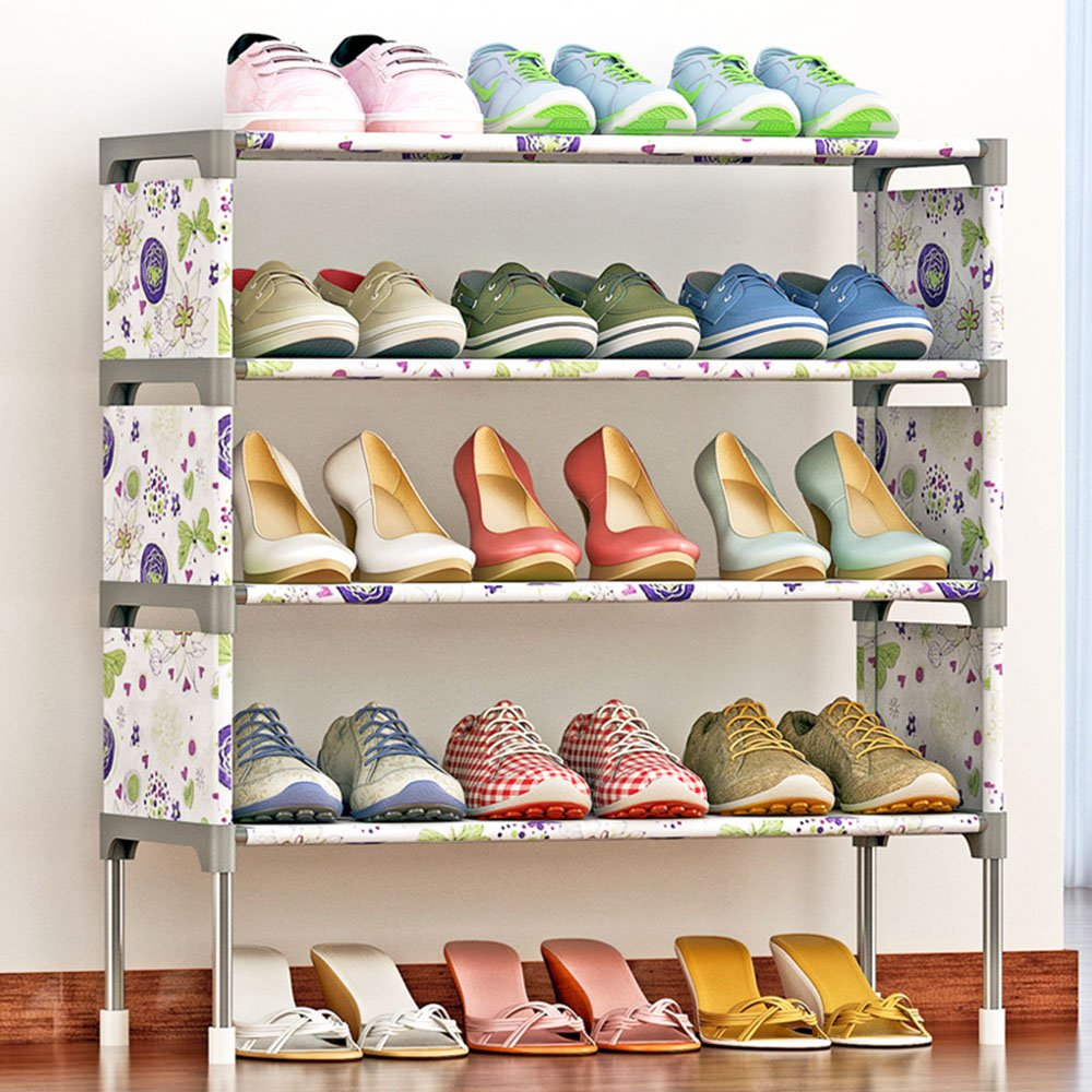 FKUO 4-Tier Shoe Rack Organizer Storage Bench - Holds 12 Pairs - Organize Your Closet Cabinet or Entryway - Easy to Assemble - No Tools Required (Lotus flower) by FKUO (Image #2)