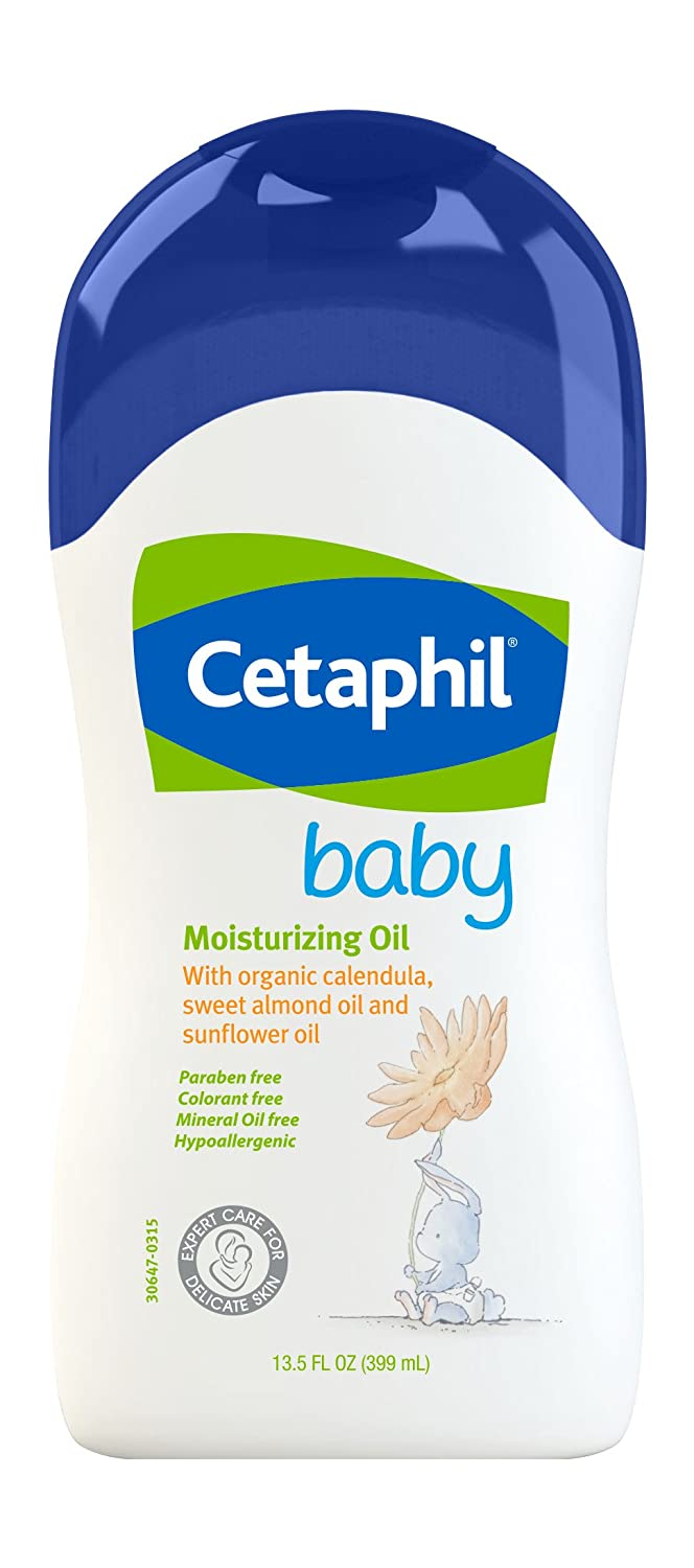 Cetaphil Baby Moisturizing Oil with Organic Calendula, Sweet Almond Oil & Sunflower Oil, 13.5 Ounce