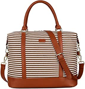 BAOSHA HB-28 Ladies Women Canvas Travel Weekender Overnight Carry-on Shoulder Duffel Tote Bag with PU Leather Strap (Kakhi)