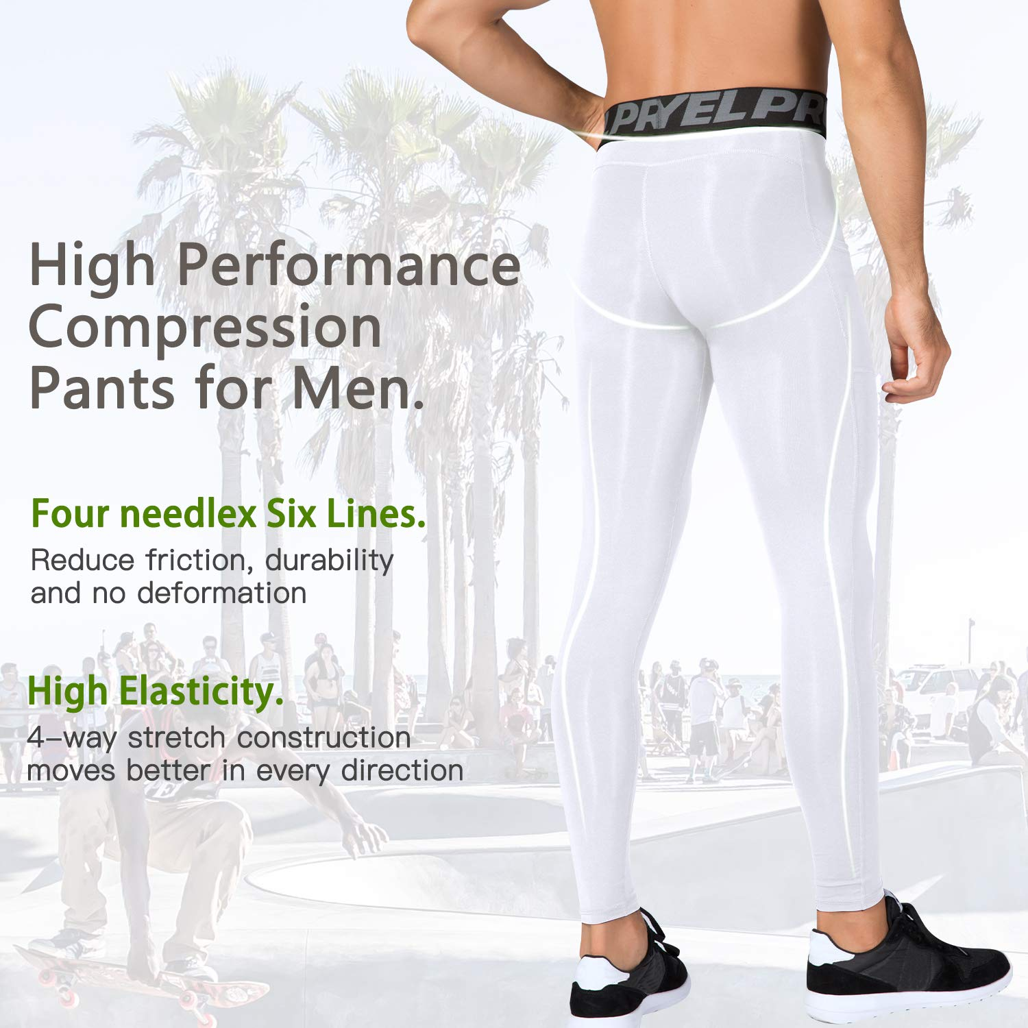 Cool Dry Baselayer Workout Gym Tights LEICHR Mens Leggings with Pockets Compression Pants Running Tights Leggings