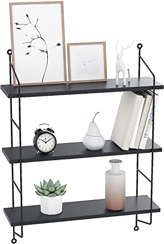 rateim Modern Wall Mounted Industrial Floating Book Shelves Heavy Duty, 3 Tier Display Wall Bookcase Shelf Storage Rack Wall Holder Rack-Black US STOCK