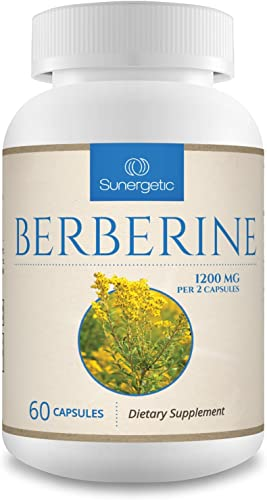Premium Berberine Supplement -1,200 mg of Berberine Per Serving Non-GMO Berberine HCI Supplement- Powerful Berberine Health Formula - 60 Berberine Capsules