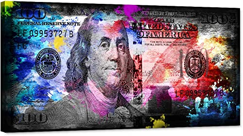 100 Dollars Bill Wall Art Canvas Printing Money Inspirational Wall Art Money Pop Art Entrepreneur Motivational 100 Bill Cash Benjamin Franklin Dollar Home Decor
