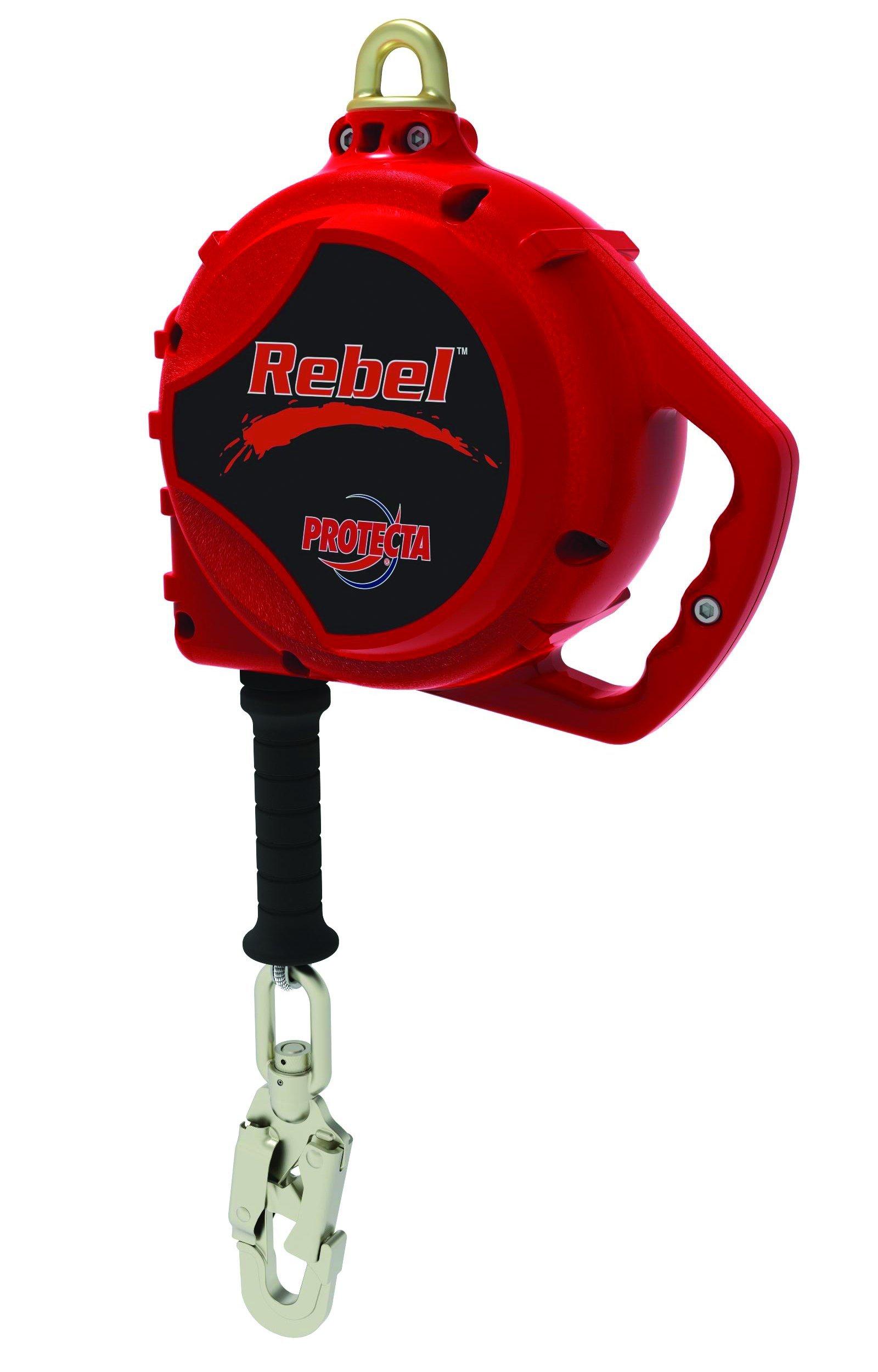 3M Protecta Rebel 3590510 Self Retracting Lifeline, 33' Galvanized Cable, Aluminum Housing, Carabiner, 420 lb Capacity, Red