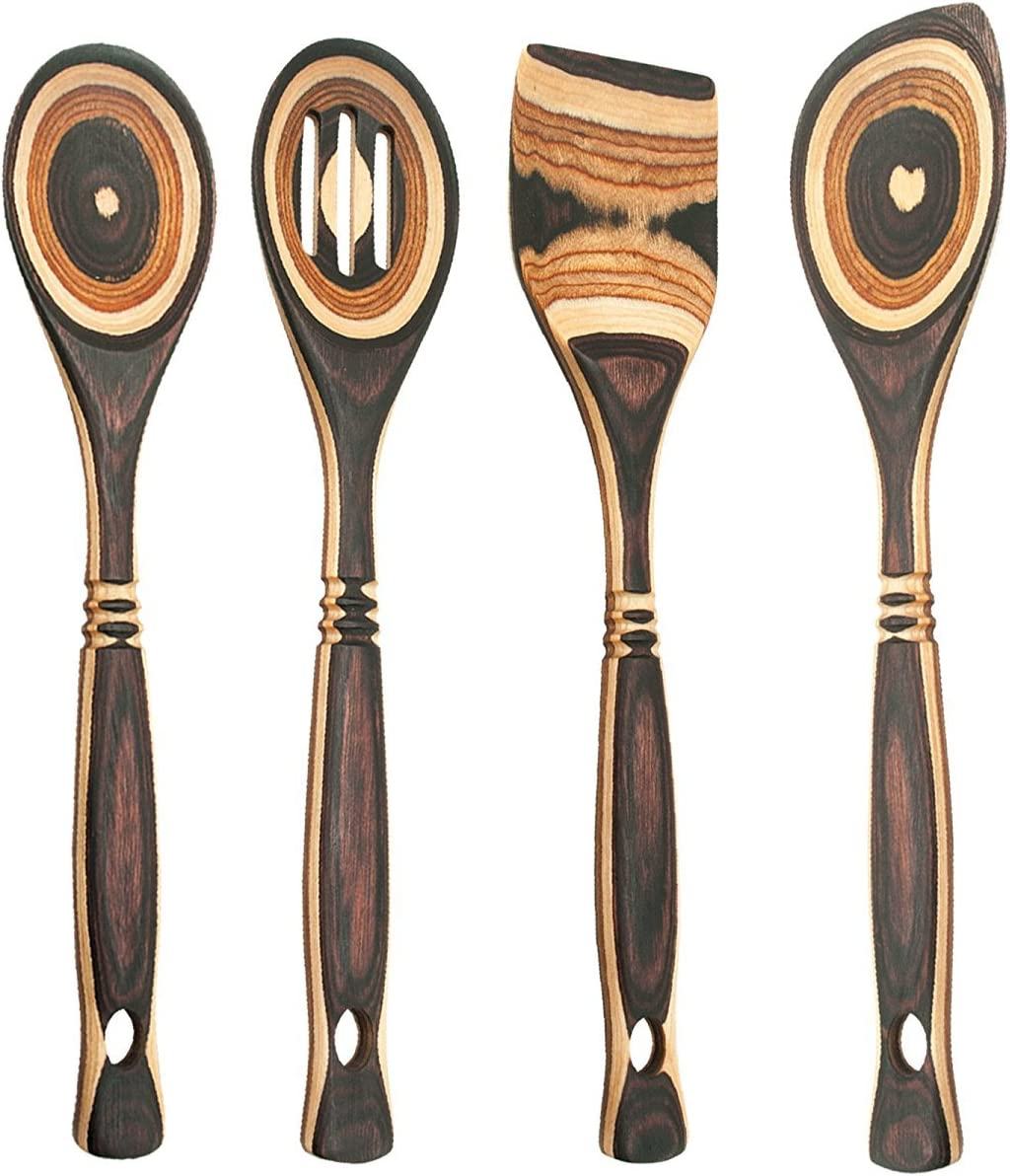 and Straight-Edge Spatula Corner Spoon Island Bamboo Natural Pakkawood 12 Wooden Spoon Set of 4 with Standard Spoon Slotted Spoon