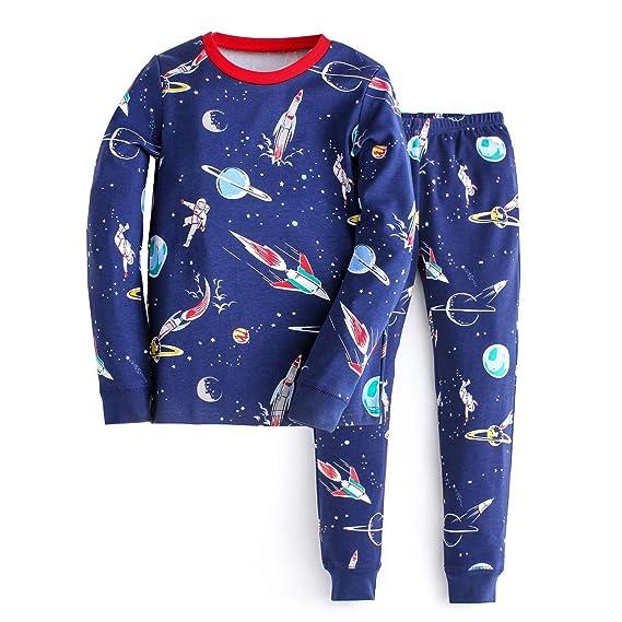 Hongshilian Boys Girls Pajamas Cotton Kids Pjs Cute Cartoon Striped Sleepwear