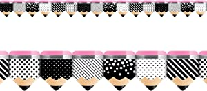 Creative Teaching Press Bold & Bright Striped and Spotted Pencils Bulletin Board Border/Trimmer (Accent Bulletin Boards, Walls, Classrooms, Learning Spaces and More)