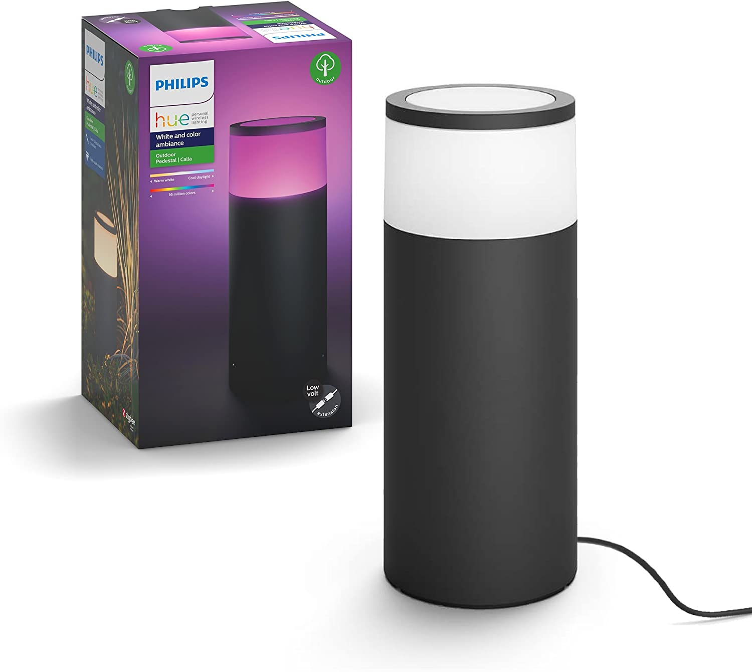 Philips Hue Calla White & Color Ambiance Outdoor Smart Pathway light extension (Hue Hub & Base Kit required), 1 White & Color Pathway light + mounting kit, Works with Alexa, HomeKit & Google Assistant