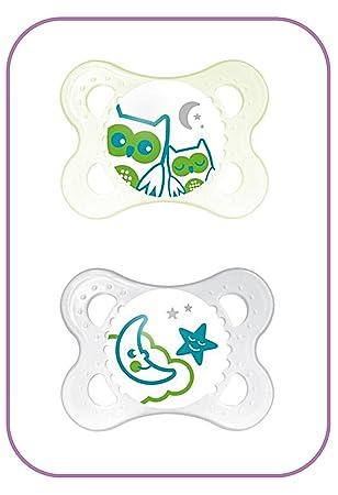 MAM - Chupetes de noche 0 + meses (Unisex) - Pack de 2 (diseños y ...