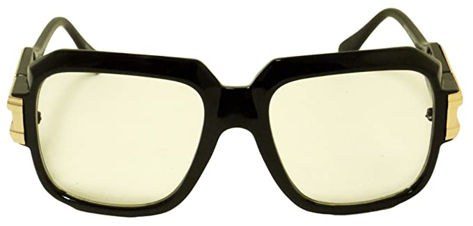 gazelle square retro vintage clear lens nerd frame gold metal black