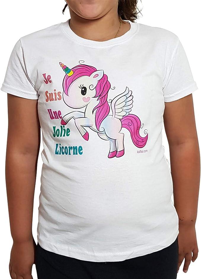 Camiseta Blanca para niña con diseño de Unicornio, Manga Corta y ...