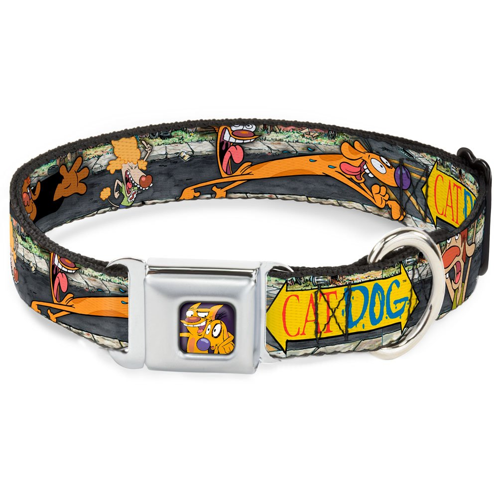 Buckle-Down Seatbelt Buckle Dog Collar Catdog Characters Running 1  Wide Fits 9-15  Neck Small