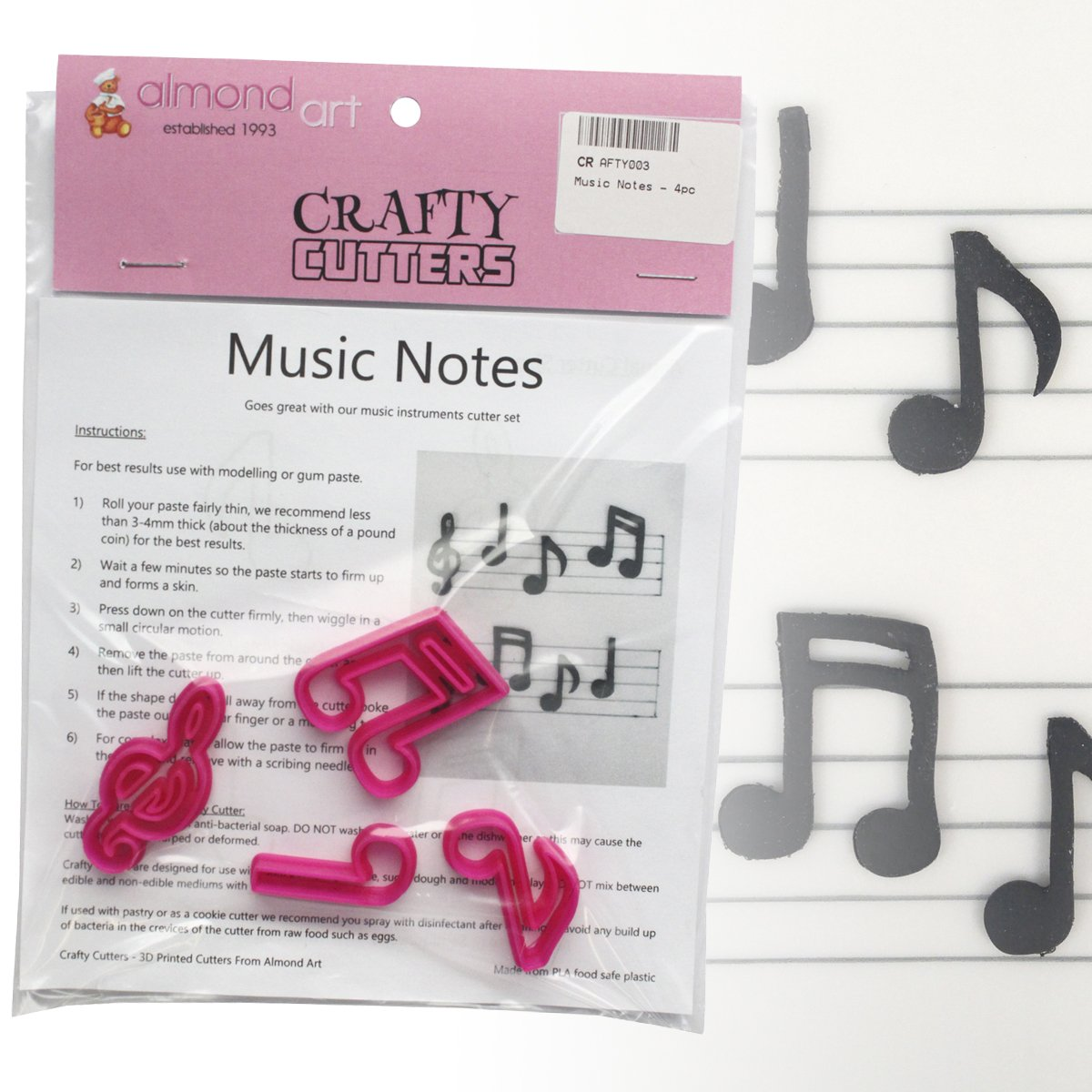 Music Notes Cutter Set - 4pc - Cake Decorating & Cupcake Topper Cutters Crafty Cutters