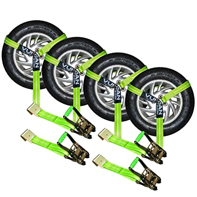 VULCAN Lasso Auto Tie Down with Flat Hooks - 2 Inch x 96 Inch, 4 Pack - High-Viz - 3,300 Pound Safe Working Load: Automotive