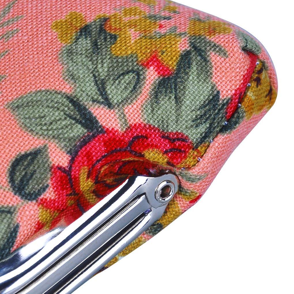 Rolin Roly Double Layer Portefeuille Femme Fille Pochette Sac Toile Mini Pochette Porte Monnaie Canvas Coin Purse Wallet Jewelry Pouch 12 x 9 cm Blue