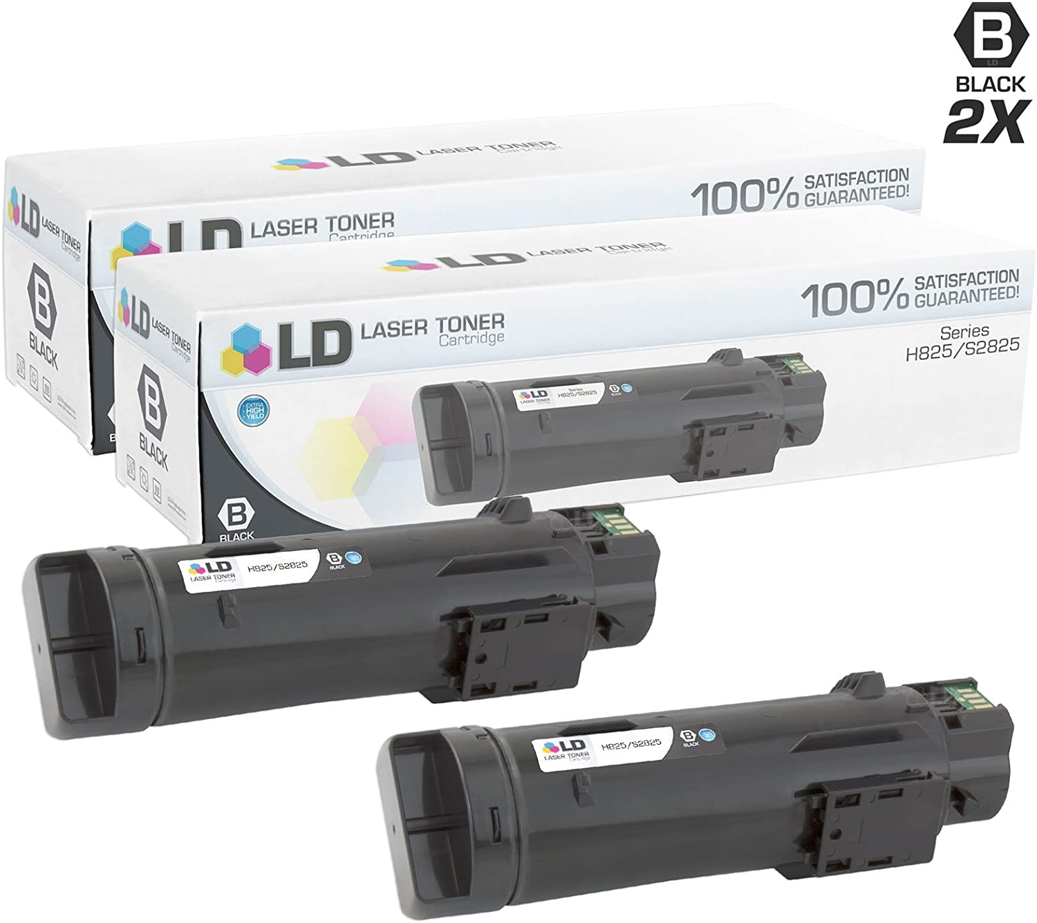 LD Compatible Toner Cartridge Replacement for Dell 593-BBPB H5K44 (Black, 2-Pack)