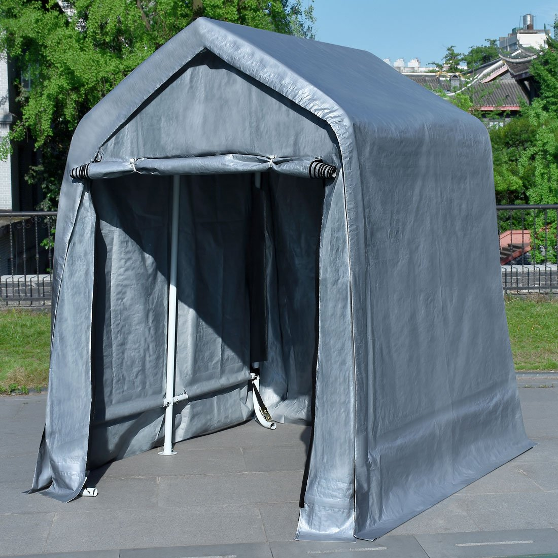 Quictent 6'X6' Heavy Duty Garage Carport ATV Shelter Storage Tent with Auger Anchors and Ratchets for Keeping Lawn Equipment
