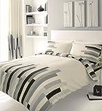 Homemaker Bedding Block Printed King Size Duvet Cover Bed Set, Grey Black and Cream