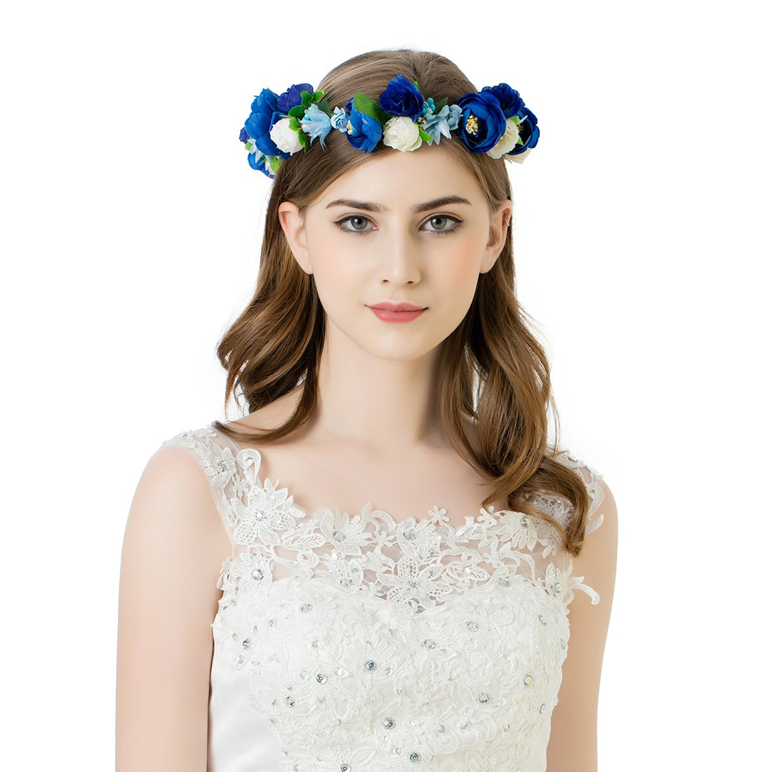 Amazon bridal flower crown floral crown wedding wreath boho awaytr flower wreath headband crown floral garland for festival wedding dark blueroyal bluewhite izmirmasajfo