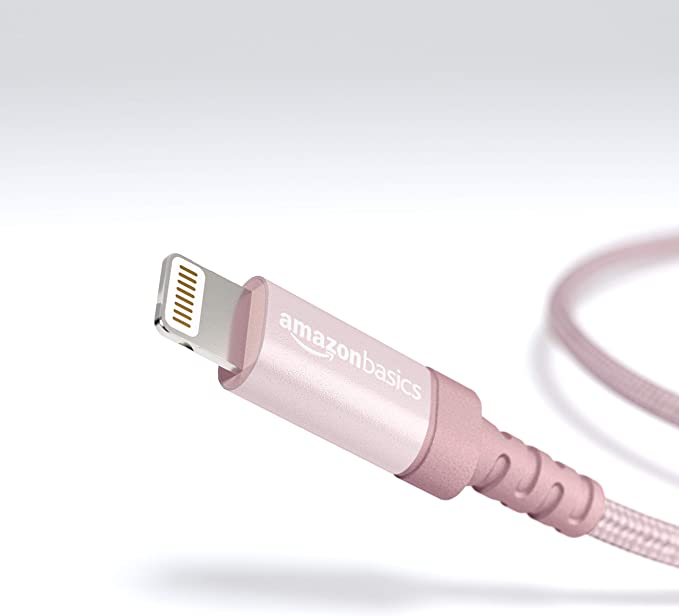 Amazonbasics Lightning To Usb A Connection Cable In Braided Nylon Certified By Apple Cable 0 9 M Red Gold Elektronik